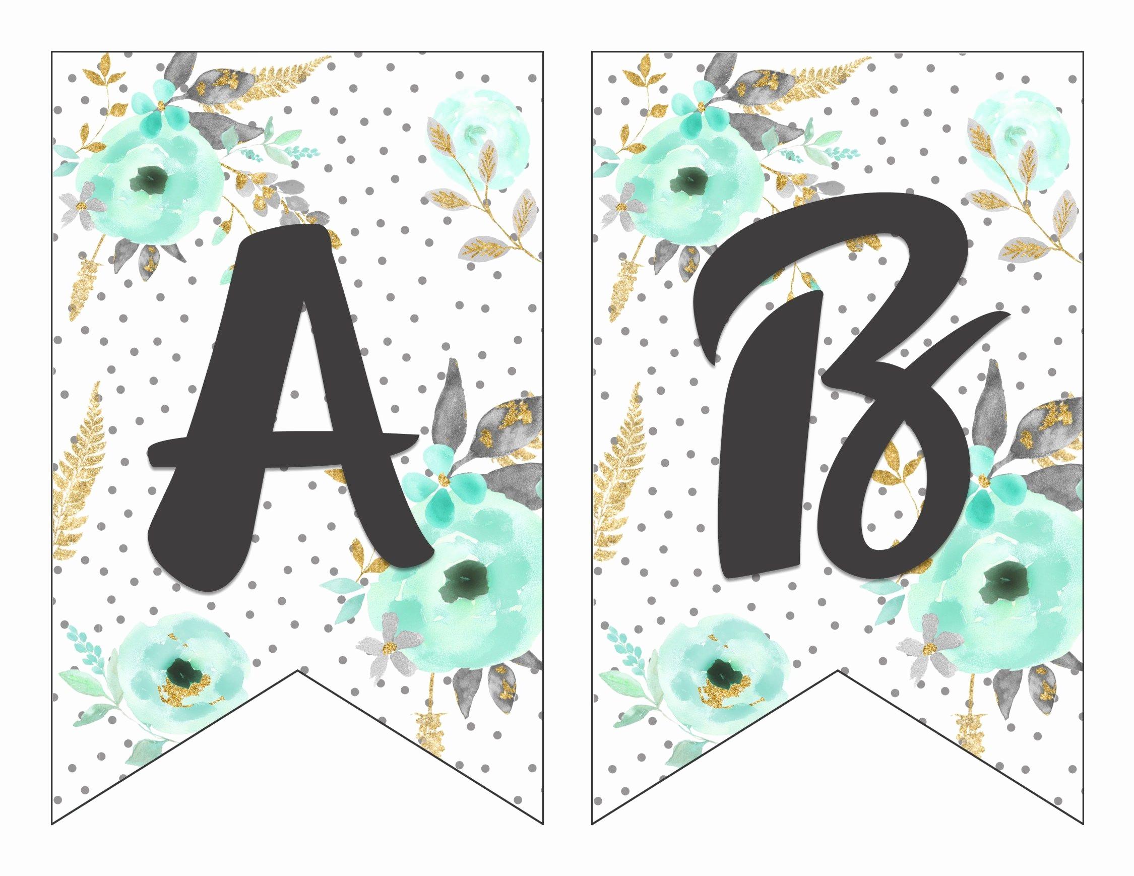 How to Make Banner Letters Elegant Free Printable Alphabet Banner Mint& Gold