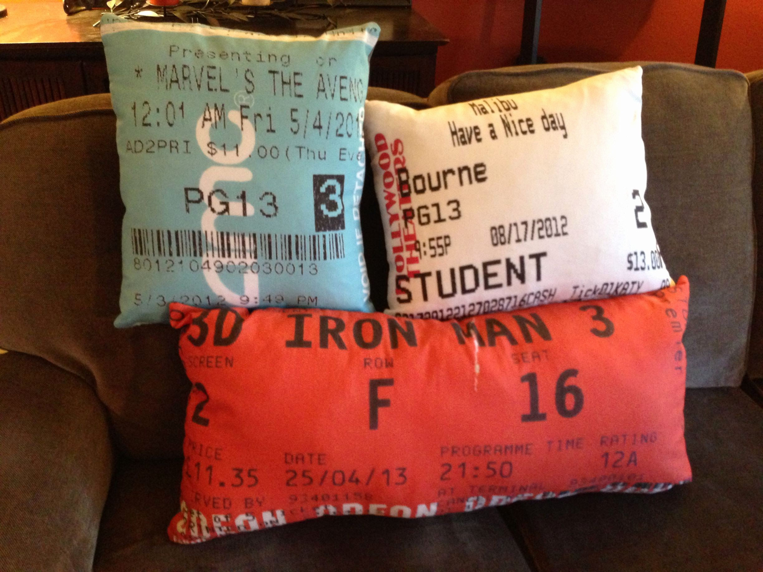 How to Make Concert Tickets Awesome Cinema Ticket Stub Pillows