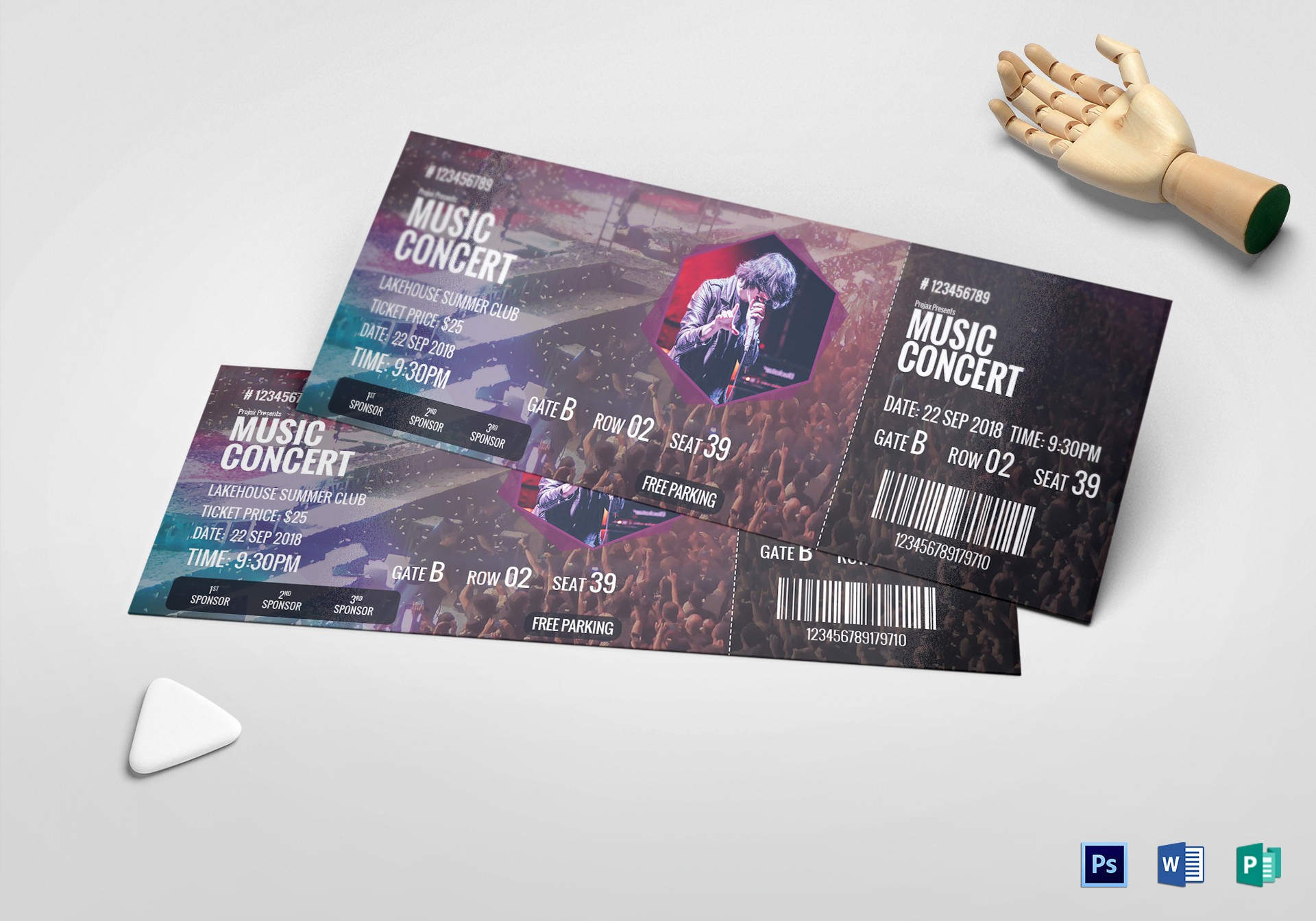 How to Make Concert Tickets Elegant Music Concert Ticket Design Template In Psd Word