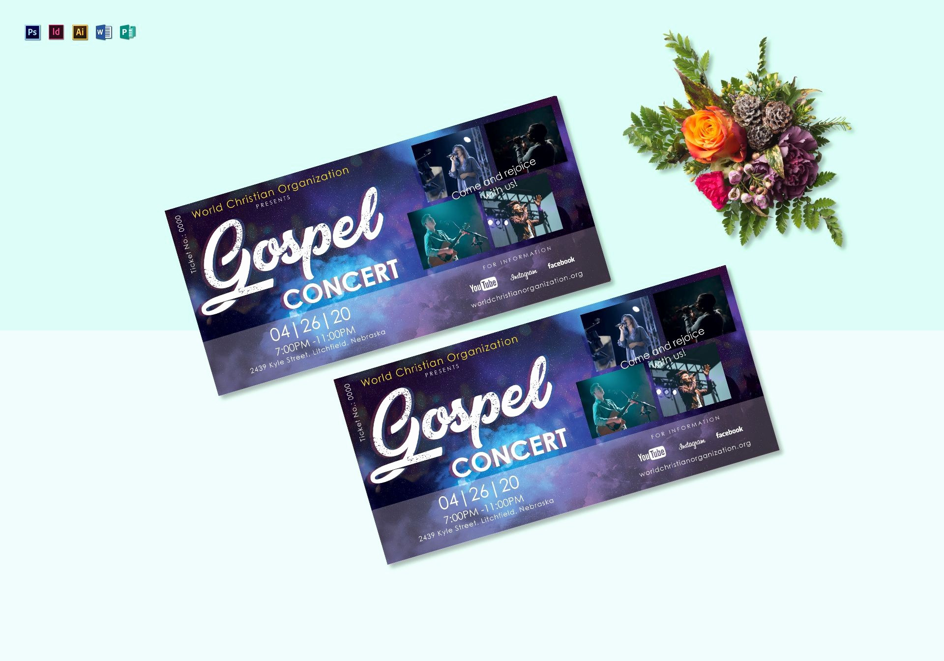 How to Make Concert Tickets Lovely Gospel Concert Ticket Design Template In Psd Word