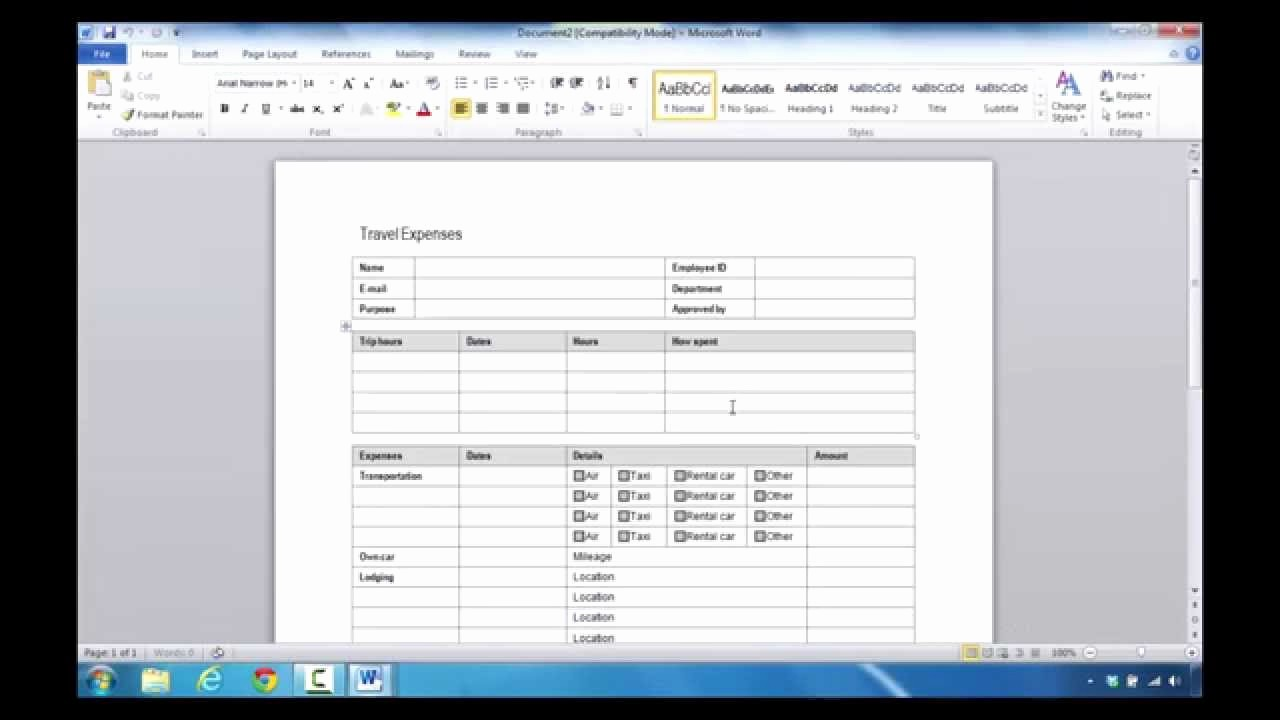 How to Make Expense Report Awesome How to Create An Expense Report In Microsoft Word 2010