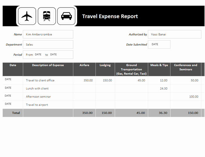 How to Make Expense Report Beautiful Travel Expense Report