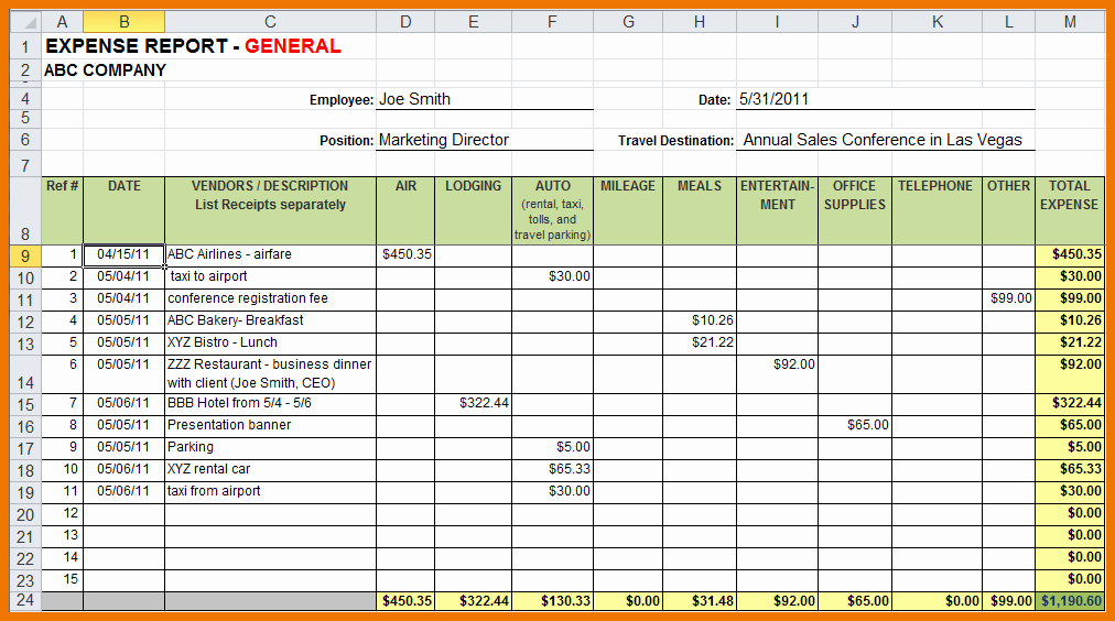 How to Make Expense Report Best Of Sample Expense Report