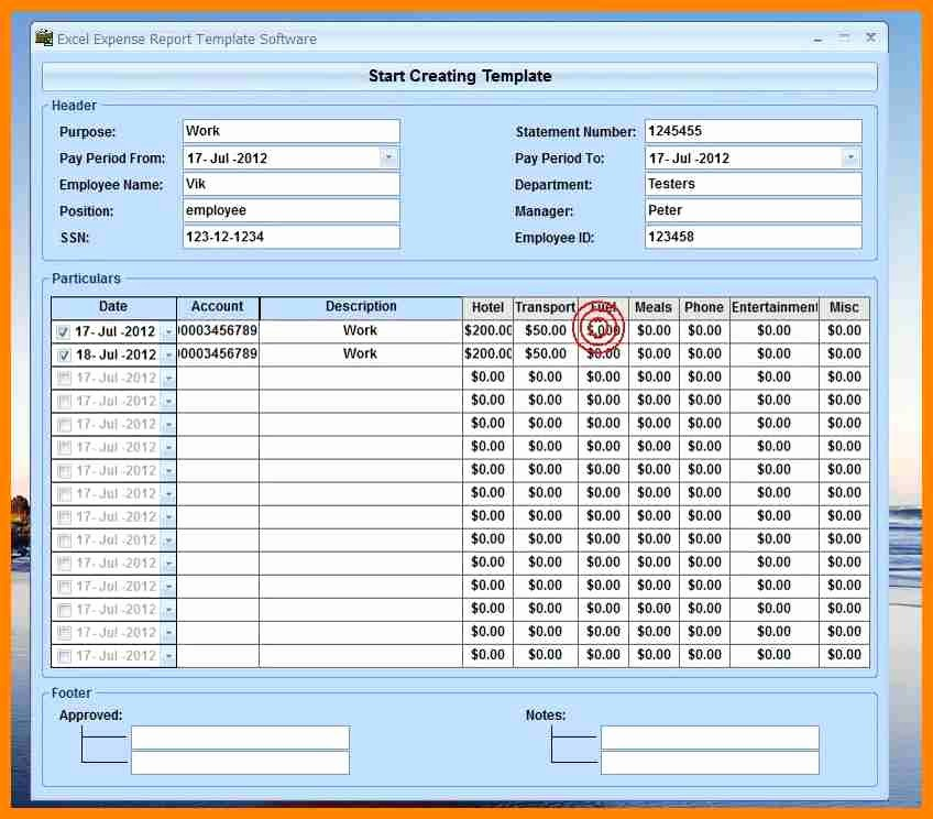 How to Make Expense Report Elegant 10 Excel 2007 Expense Report Template