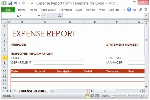 How to Make Expense Report Unique Expense Report form Template for Excel