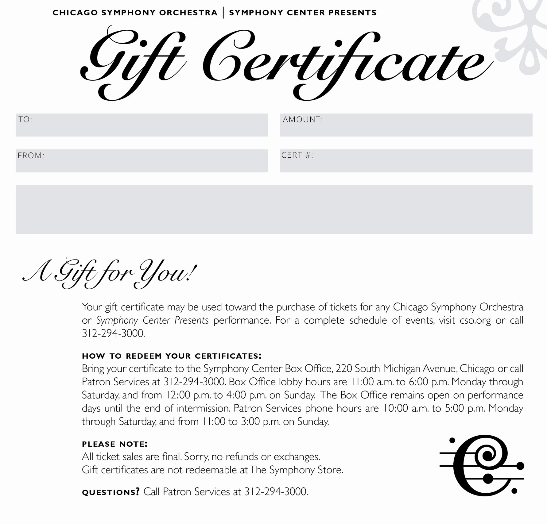 How to Make Gift Certificates Awesome Chicago Symphony orchestra