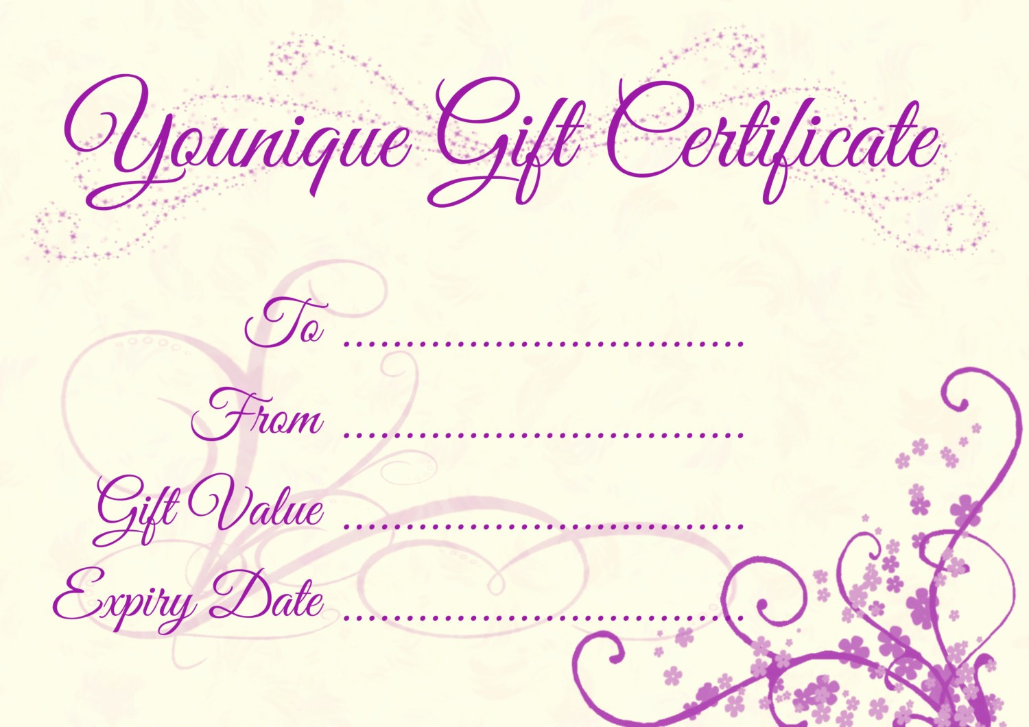 How to Make Gift Certificates Fresh Younique Gift Certificate Template