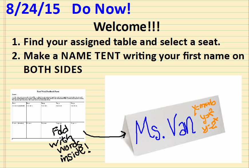How to Make Name Tents Beautiful Week 1 Day 1 Name Tents with Feedback Sara Vanderwerf
