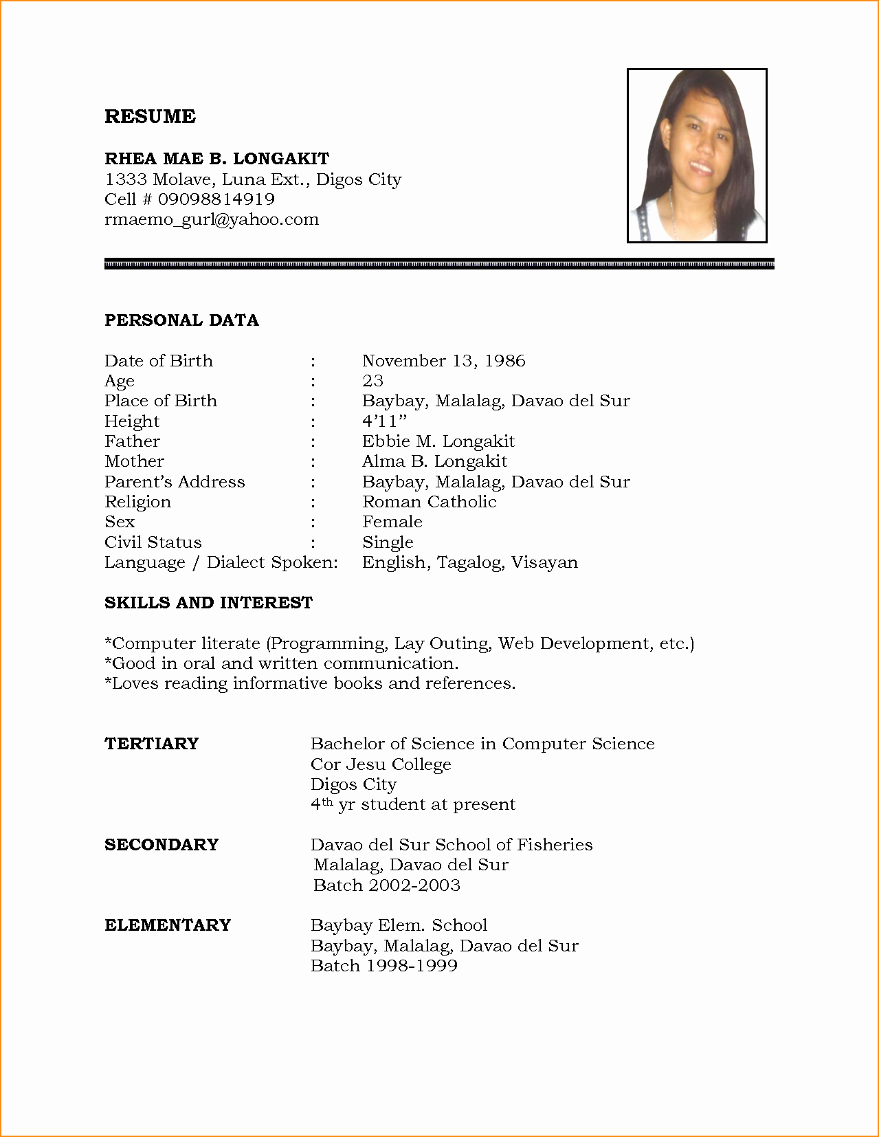 How to Make Simple Resume Best Of Resume Simple Example with A 5 Tjfs Journal