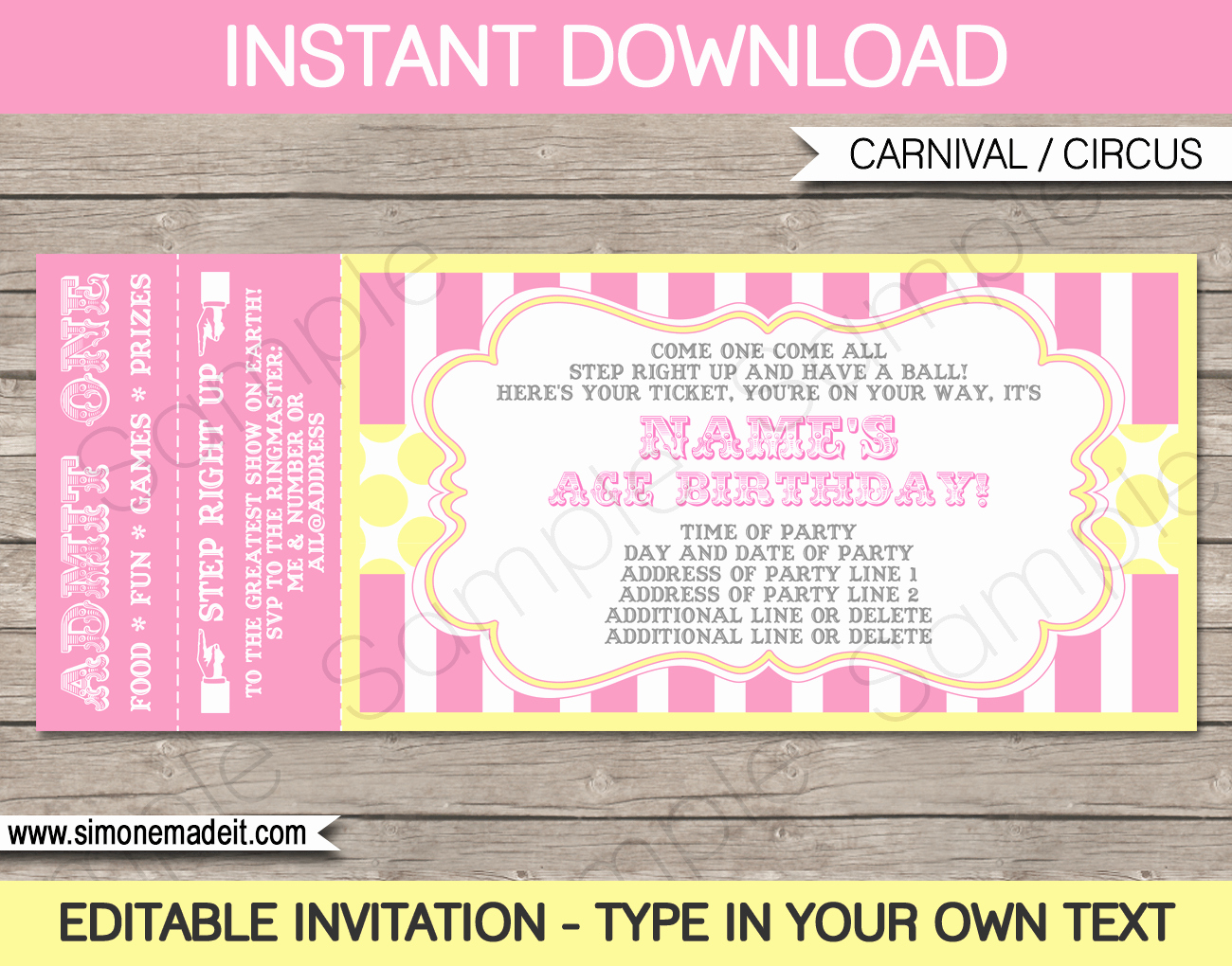 How to Make Ticket Invitations Beautiful Carnival Birthday Ticket Invitations Template