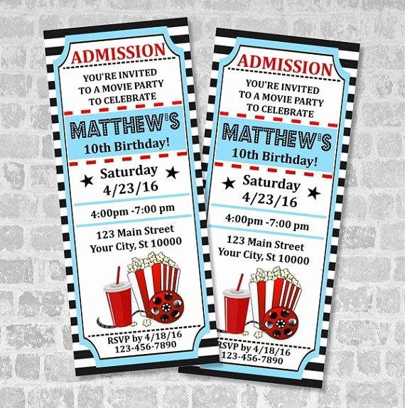 How to Make Ticket Invitations Beautiful Movie Ticket Birthday Party Invitation Custom Printable
