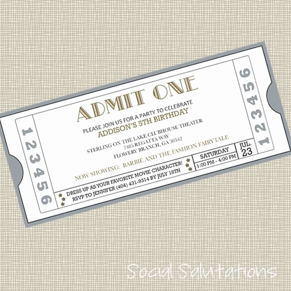How to Make Ticket Invitations Beautiful Printable Movie Ticket Party Invitation