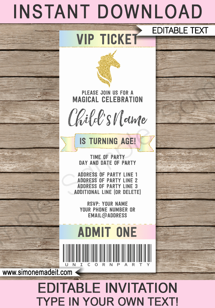 How to Make Ticket Invitations Beautiful Unicorn Party Ticket Invitations Template