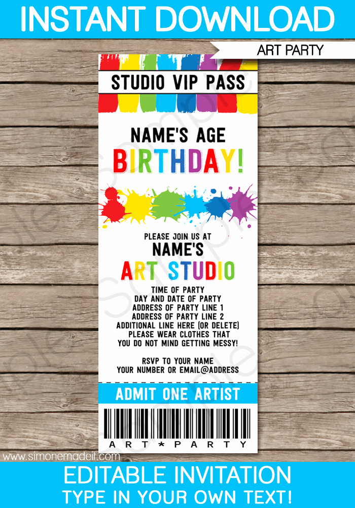 art party ticket invitations paint party