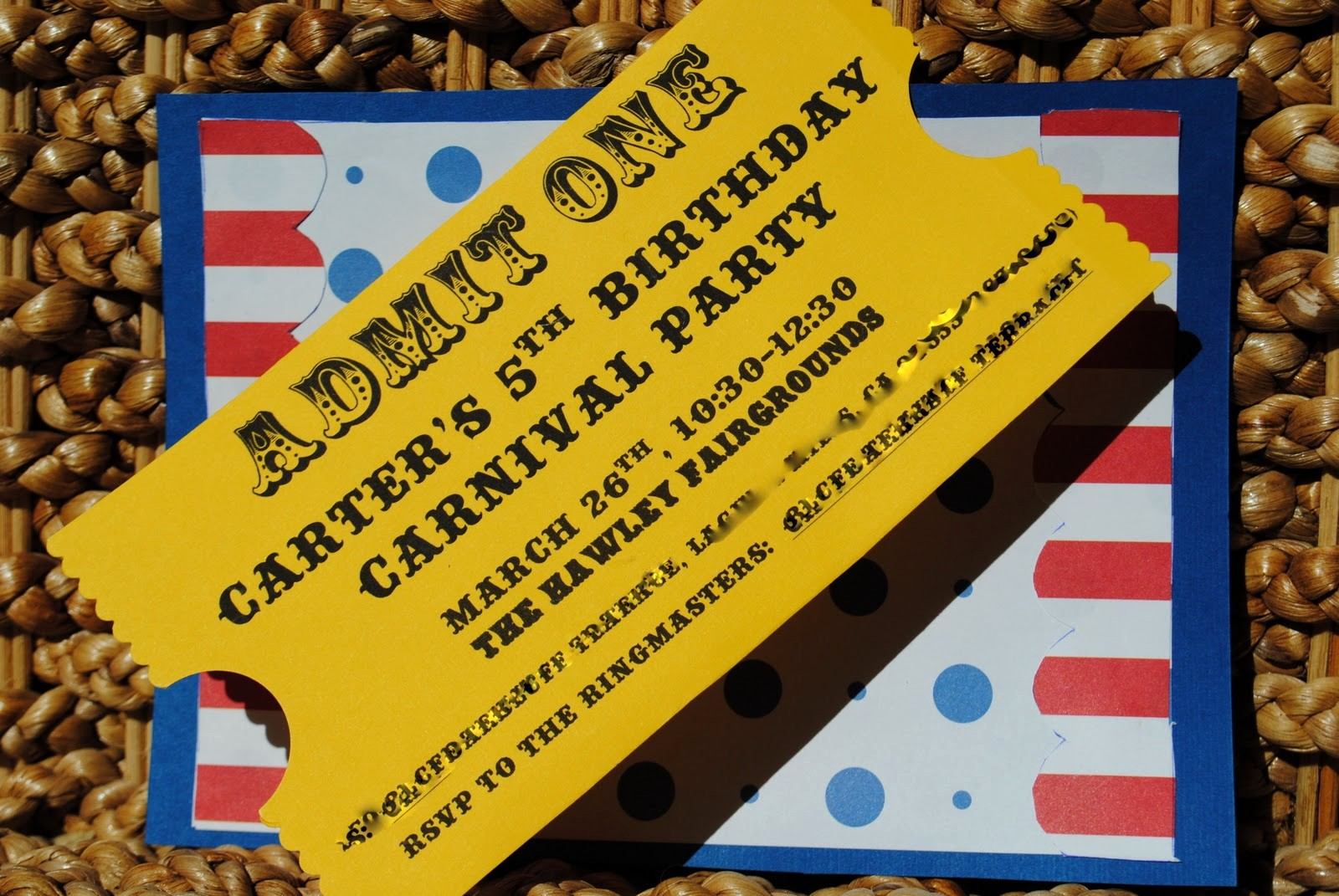 """How to Make Ticket Invitations Fresh Calico and Cupcakes """"ticket"""" Invitation Tutorial"""