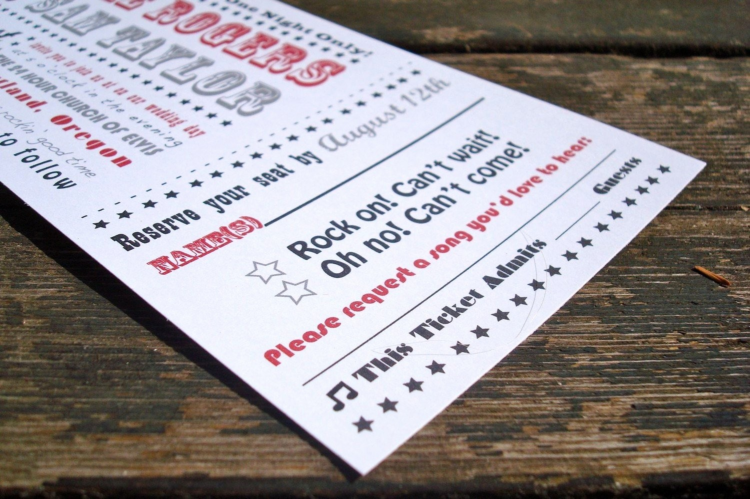 How to Make Ticket Invitations Fresh Concert Ticket Wedding Invitation Sample Pack Free