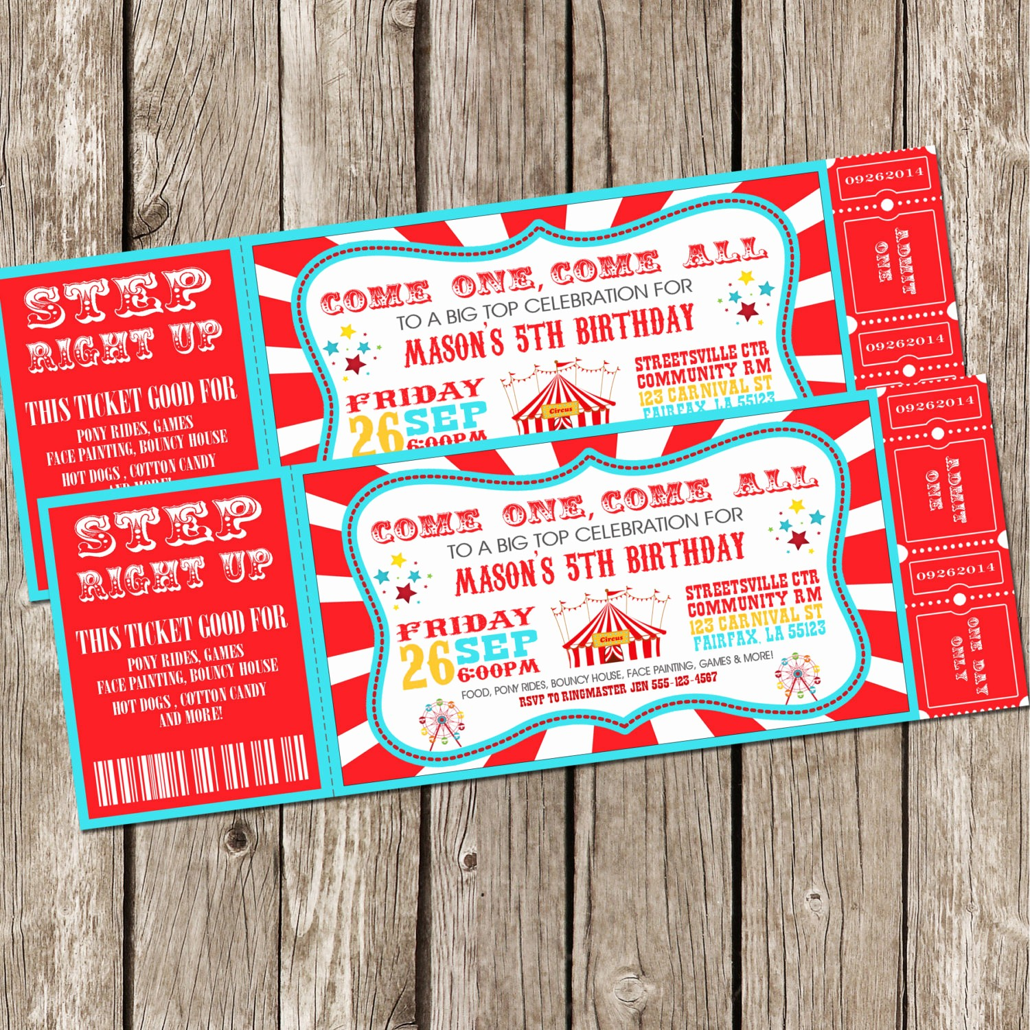 How to Make Ticket Invitations Fresh Vintage Circus Carnival Invitation Ticket Invitation