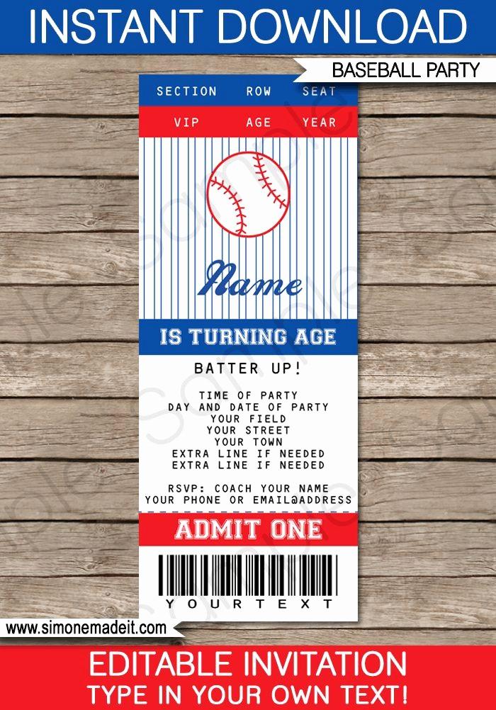 How to Make Ticket Invitations Lovely Baseball Ticket Invitation Template