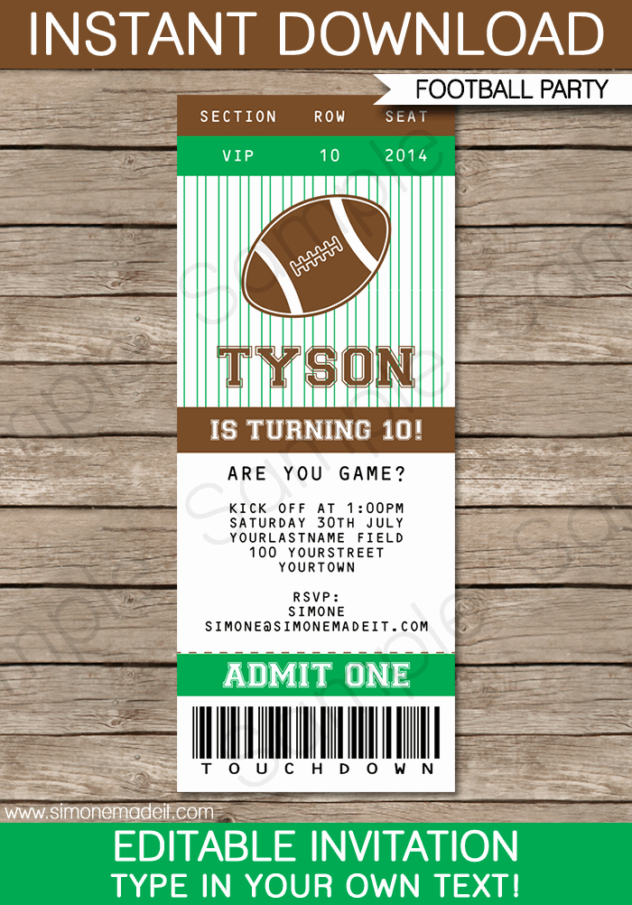 How to Make Ticket Invitations Lovely Football Ticket Invitation Template