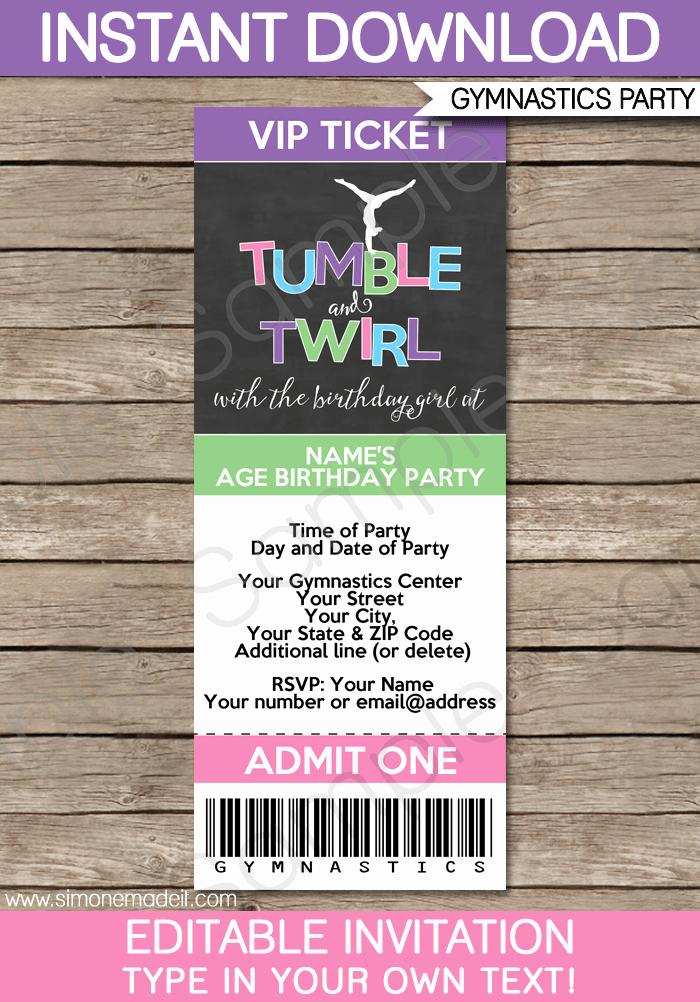 How to Make Ticket Invitations Lovely Gymnastics Party Ticket Invitations