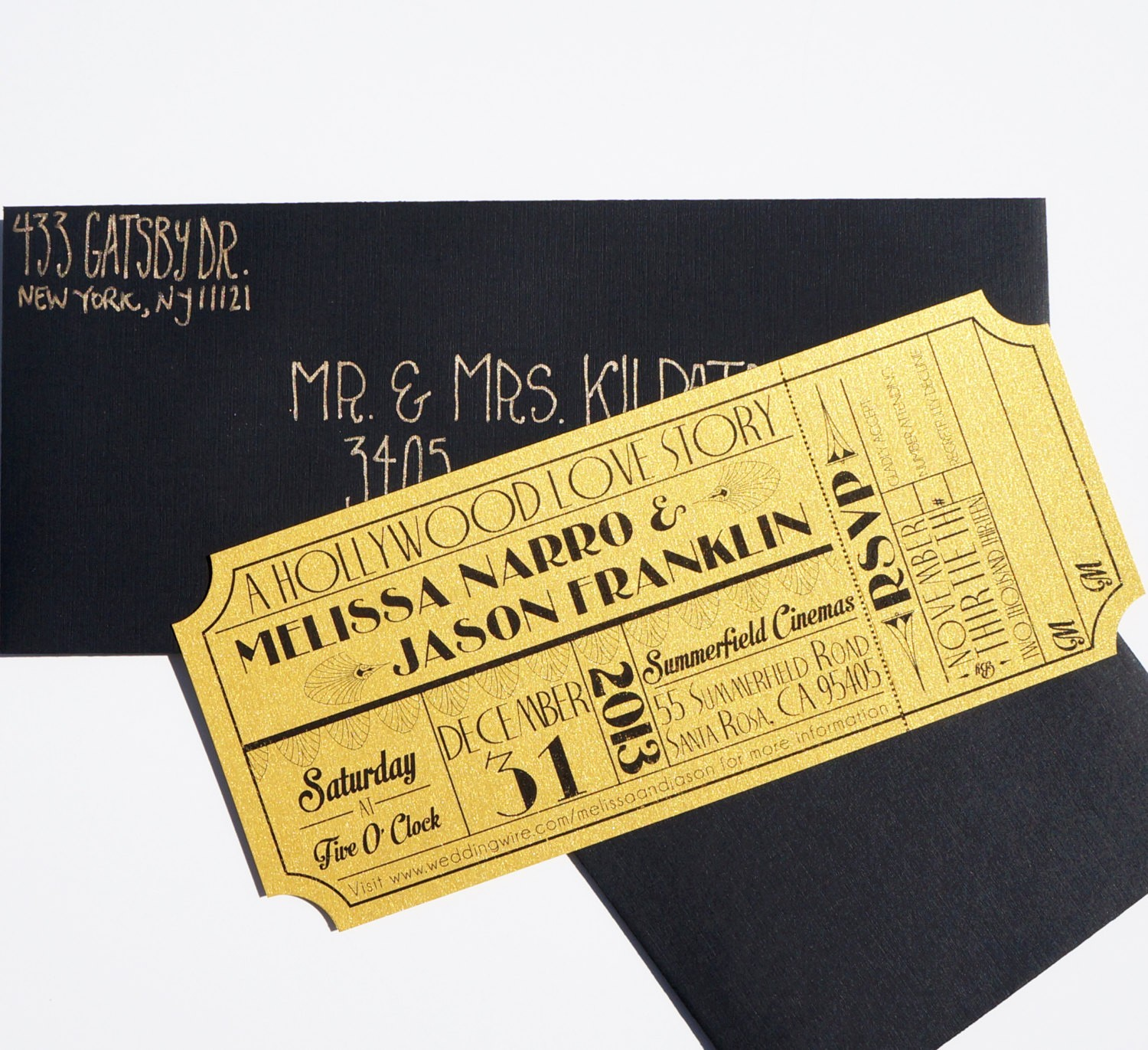 How to Make Ticket Invitations Luxury Old Hollywood Art Deco Gold Movie Ticket Invitation Sample
