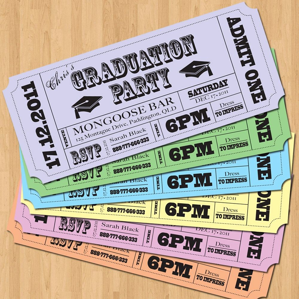 How to Make Ticket Invitations New Graduation Party Invitations Vintage Ticket Style Diy