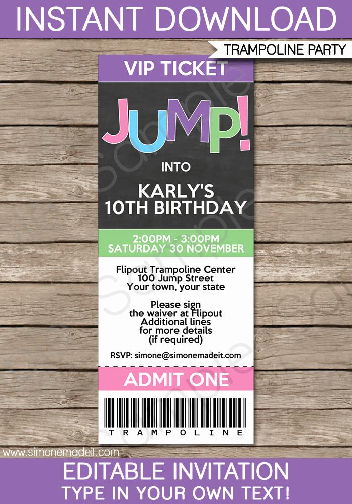 How to Make Ticket Invitations Unique Trampoline Birthday Party Ticket Invitations