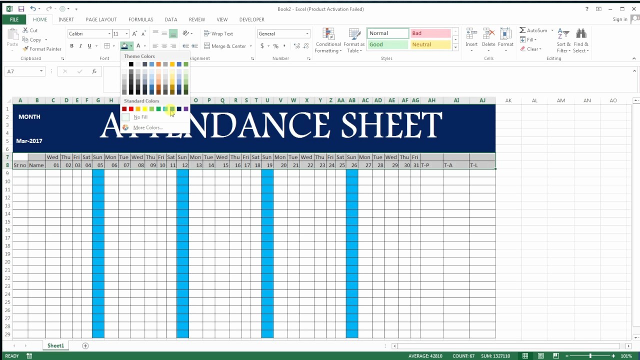How to Make Time Sheets Awesome How to Make attendance Sheet In Excel 17 Basic Excel