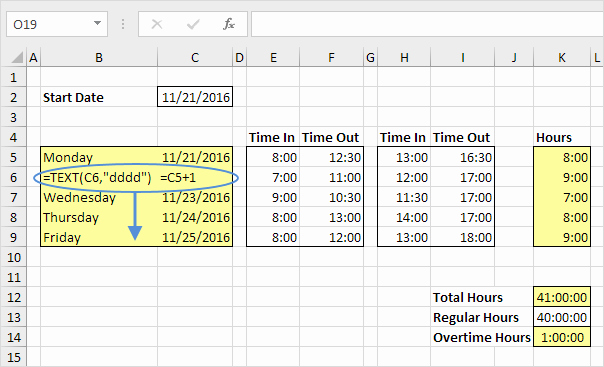 How to Make Time Sheets Beautiful Excel formulas for Dates