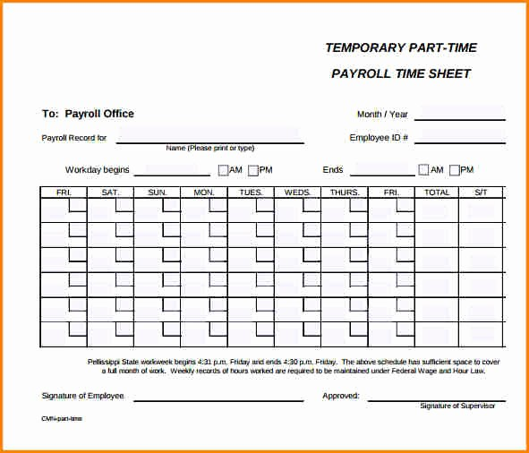 How to Make Time Sheets Best Of 5 Payroll Timesheet Template
