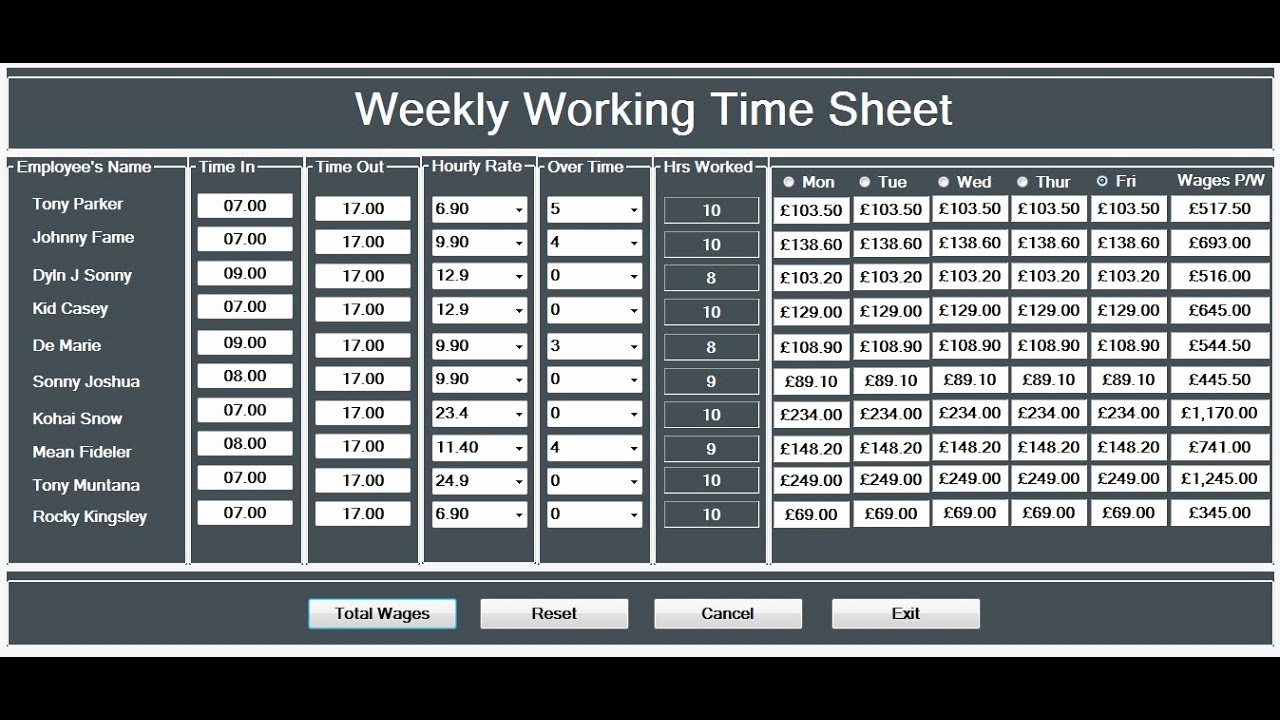 How to Make Time Sheets Elegant How to Create A Working Time Sheet Tutorial In Visual
