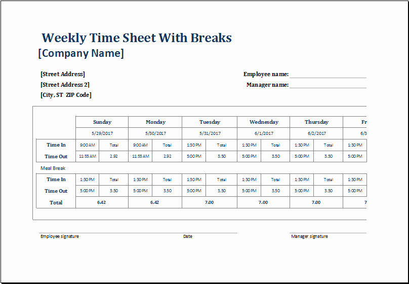 How to Make Time Sheets Lovely Employee Weekly Time Sheets with and without Breaks