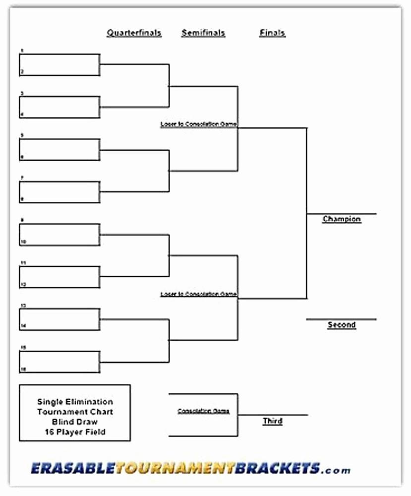 How to Make tournament Bracket Elegant 22 X 34 16 Player Single Elimination tournament Bracket