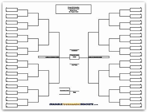 How to Make tournament Bracket Inspirational Erasable tournament Bracket 64 Player Team Single Elimination