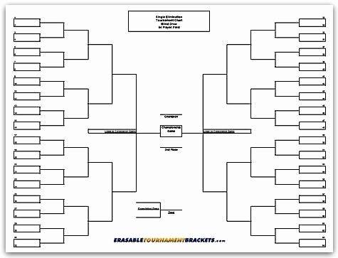 How to Make tournament Bracket Inspirational Erasable tournament Bracket 64 Player Team Single Elimination
