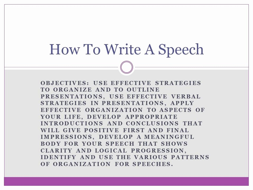 How to Outline A Speech Awesome How to Write A Speech Objectives Use Effective Strategies