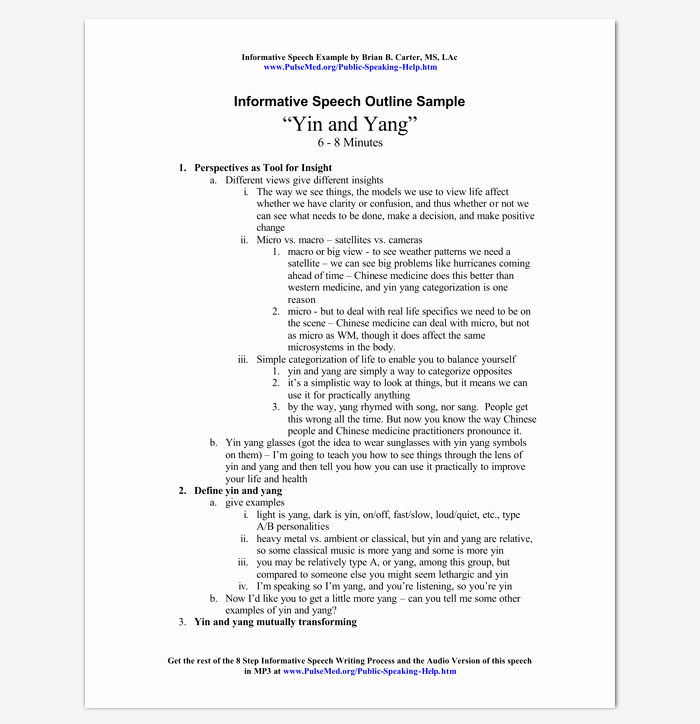 How to Outline A Speech Awesome Informative Speech Outline Example
