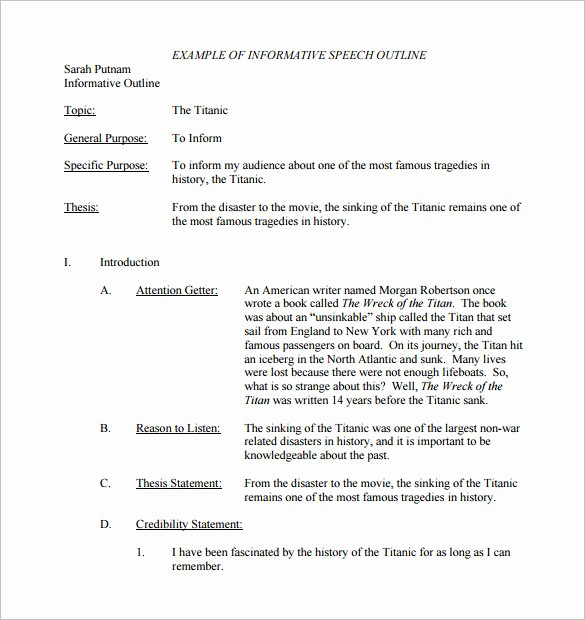 How to Outline A Speech Elegant 8 Speech Outline Templates – Free Pdf Word Documents