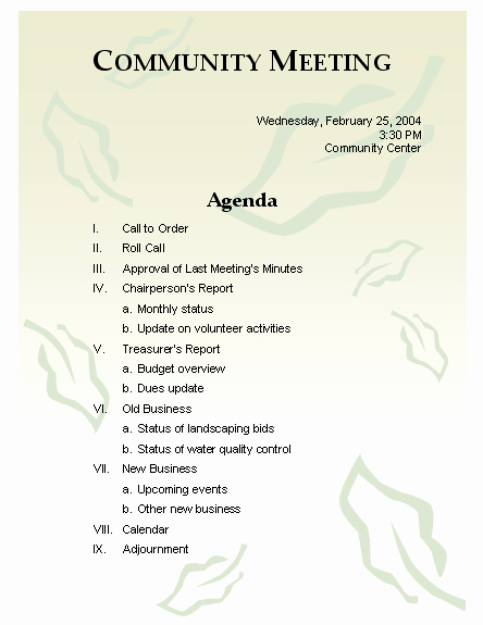 """How to Prepare An Agenda Fresh Search Results for """"how to Write A Meeting Agenda Example"""