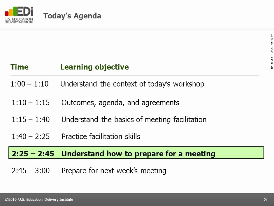 How to Prepare An Agenda Unique today's Agenda Time Learning Objective 1 00 – 1 10 Ppt