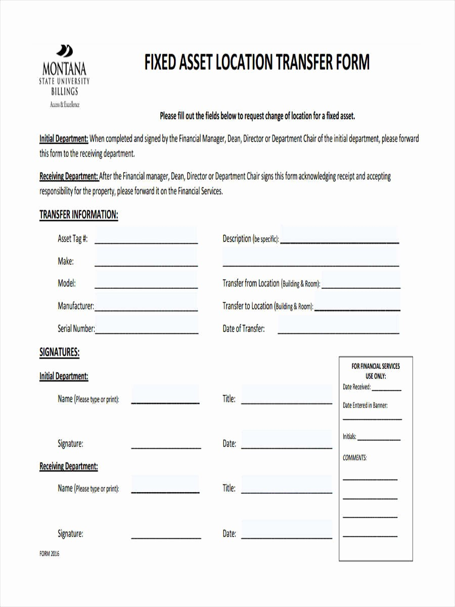 How to Record Fixed assets Elegant 7 asset Transfer form Sample Free Sample Example