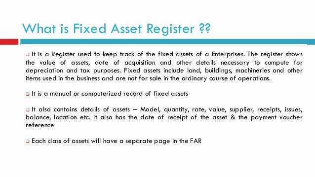 How to Record Fixed assets Fresh Fixed asset Register