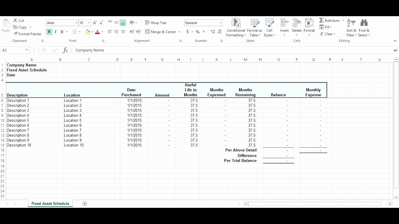 How to Record Fixed assets Luxury Fixed asset Schedule Short Tutorial