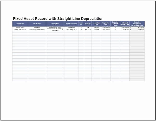 How to Record Fixed assets Luxury Templates forms and Worksheets