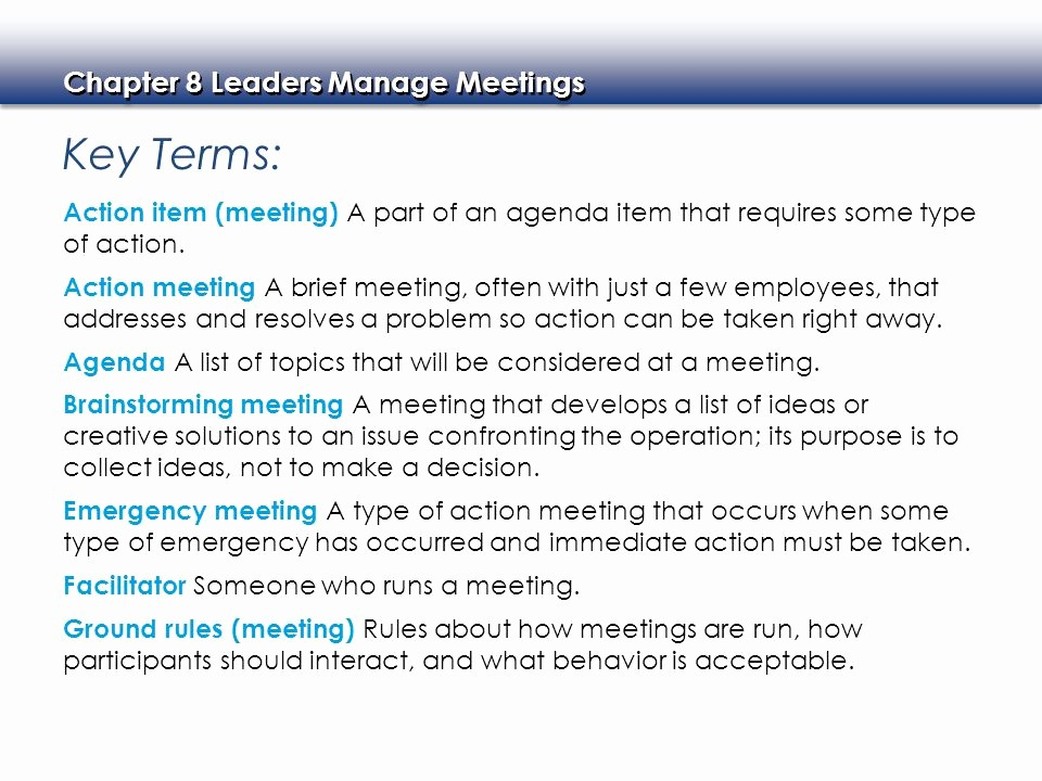 How to Type An Agenda Elegant Leaders Manage Meetings Ppt Video Online