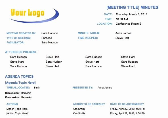 How to Type An Agenda Unique Free Meeting Minutes Template for Microsoft Word
