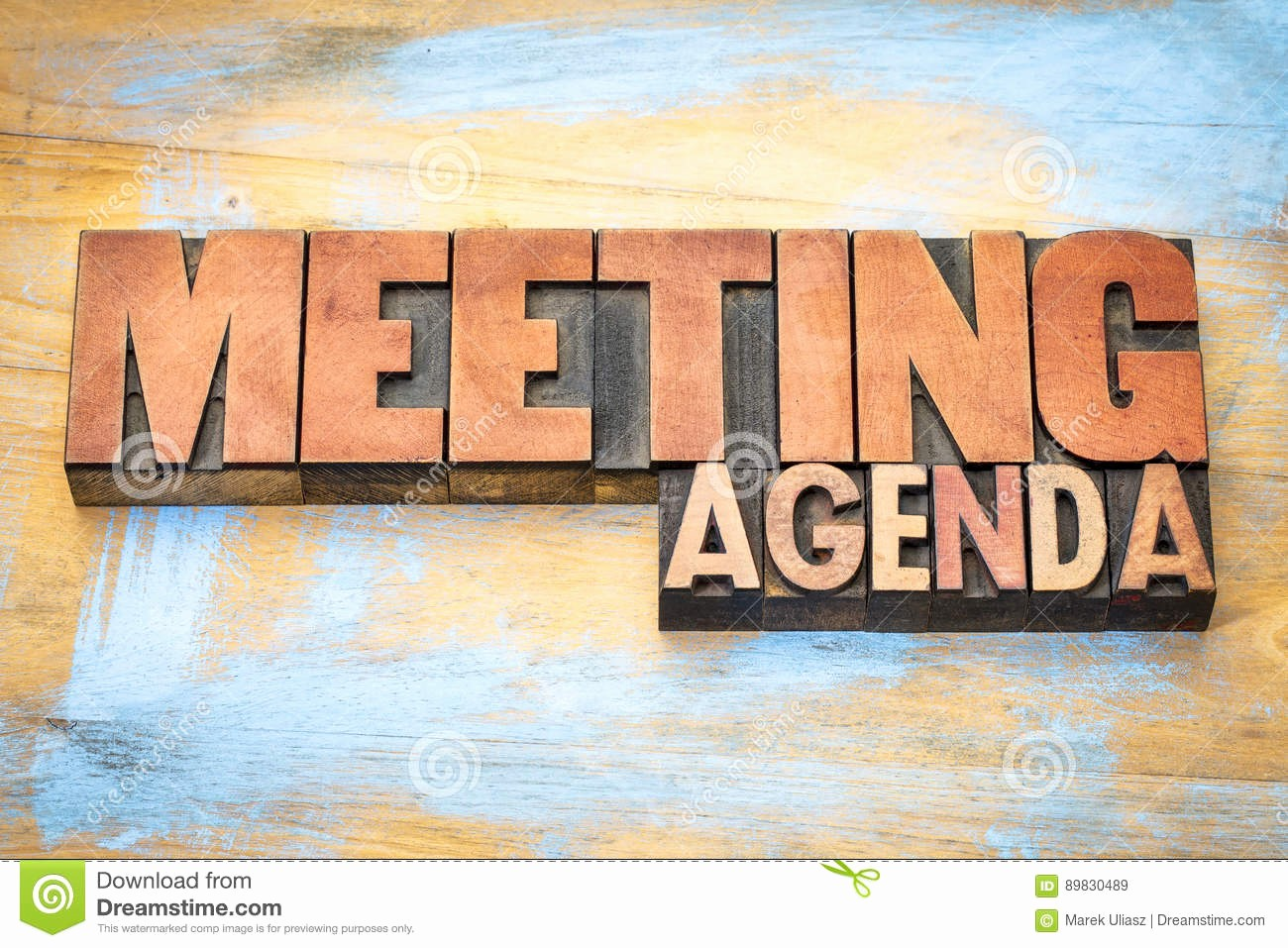How to Type An Agenda Unique Meeting Agenda Banner In Letterpress Wood Type Stock Image