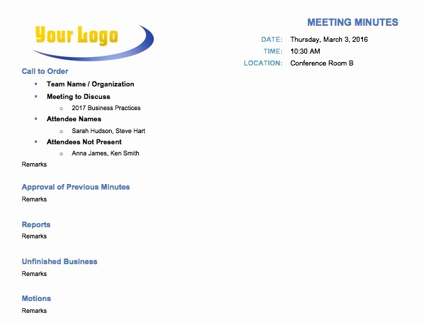 How to Type Up Minutes Awesome Free Meeting Minutes Template for Microsoft Word