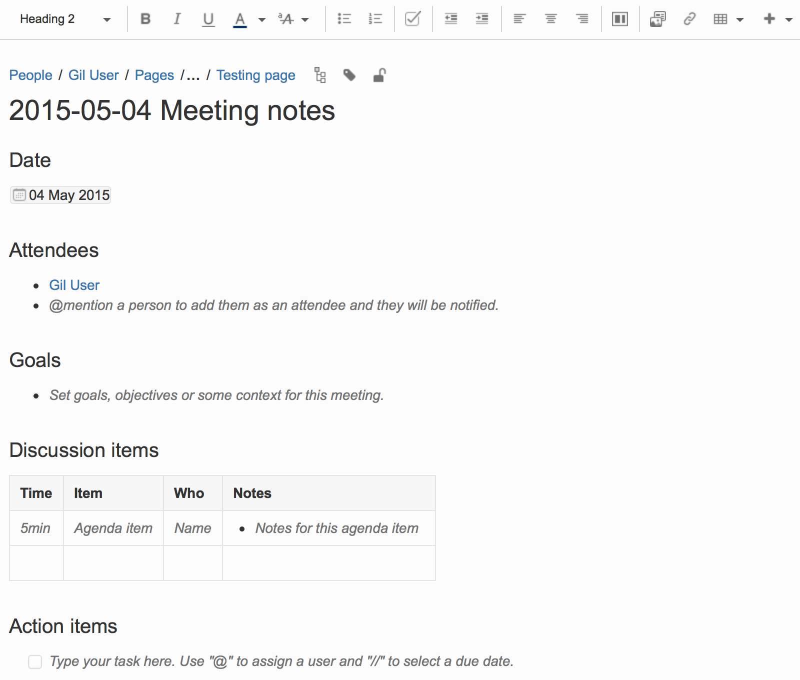 How to Type Up Minutes Lovely Meeting Notes Blueprint atlassian Documentation