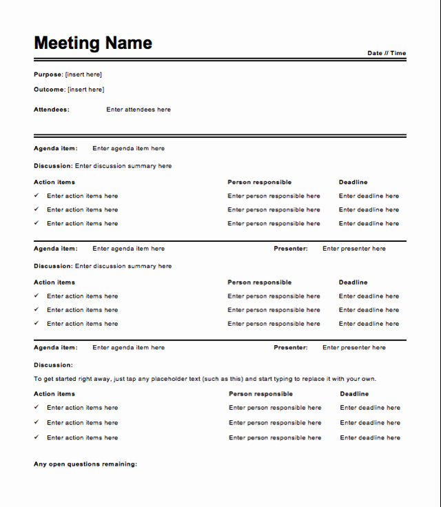 How to Type Up Minutes Unique Free Meeting Minutes Template How to Write Meeting